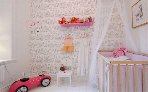 儿童房背景墙北欧风格装饰图片