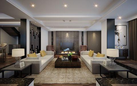 现代客厅踢脚线背景墙装潢实景图