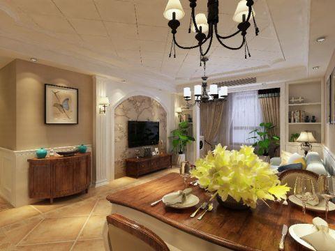 现代美式90平米三居室装修效果图