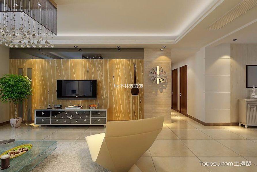 客厅黄色电视背景墙现代简约风格装饰设计图片