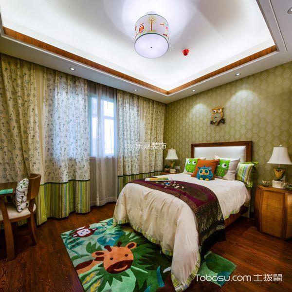 儿童房绿色窗帘新中式风格装潢图片