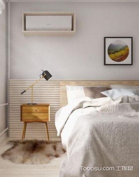 卧室咖啡色床头柜北欧风格装修设计图片