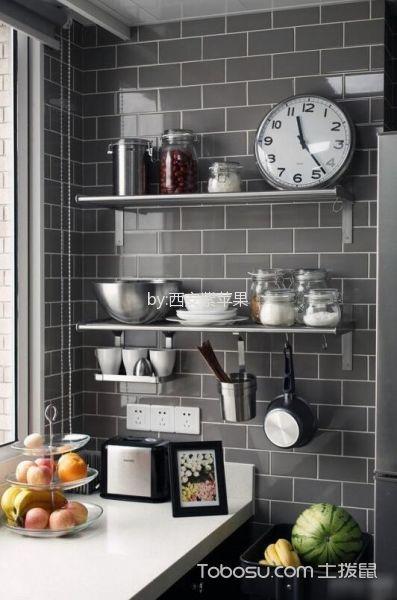 厨房灰色背景墙混搭风格装潢图片