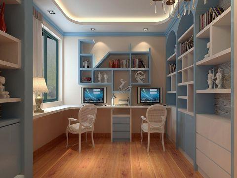 书房背景墙田园风格装潢设计图片
