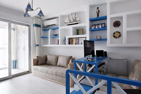 书房博古架地中海风格装修设计图片