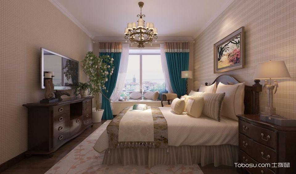 万达公馆米色140平米美式风格楼房装修效果图