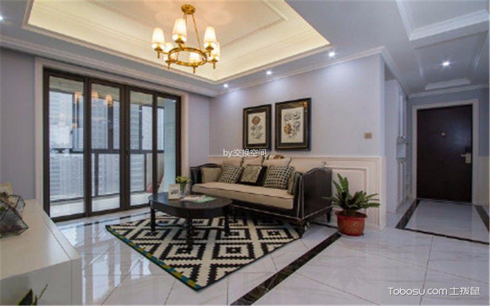 客厅白色灯具美式风格装饰图片
