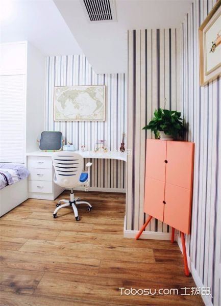 儿童房白色书桌现代风格装修图片