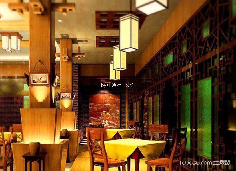 河北区餐饮店大堂灯具装饰实景图