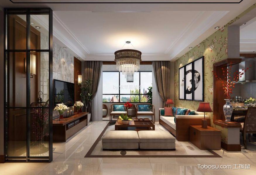 忻州泛华城市广场130平米新中式风格效果图