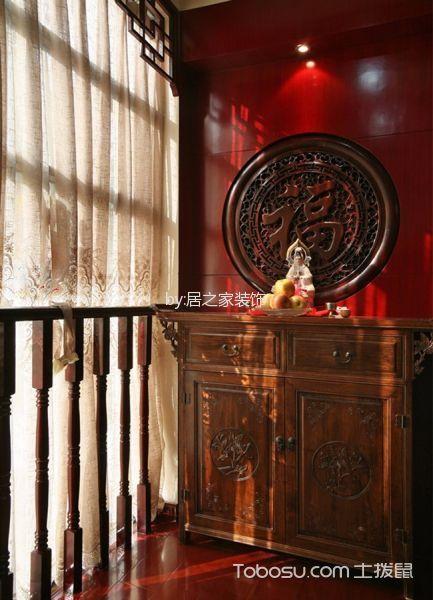 玄关红色背景墙中式风格效果图