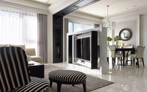 中信公园城180平现代公寓黑白灰色调设计图
