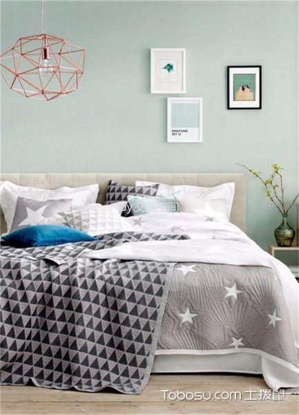 卧室绿色背景墙北欧风格装饰设计图片