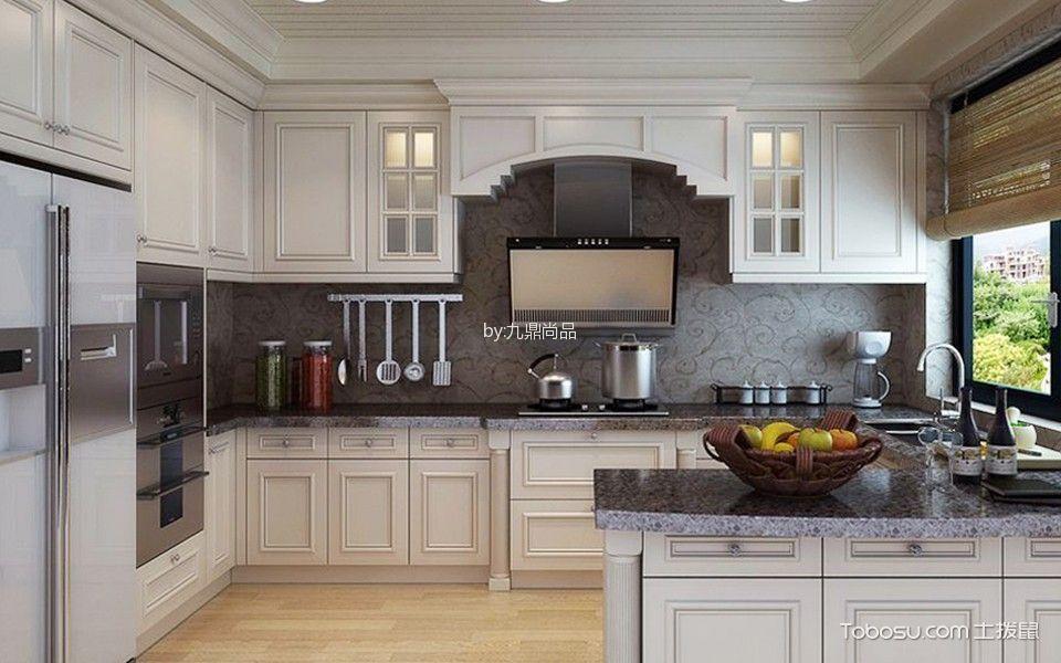 厨房白色吧台新中式风格装修图片