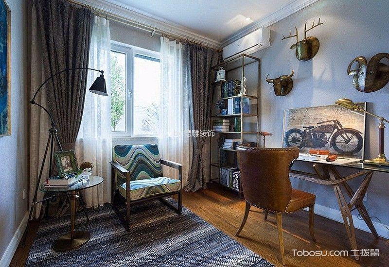 书房灰色窗帘混搭风格装饰效果图