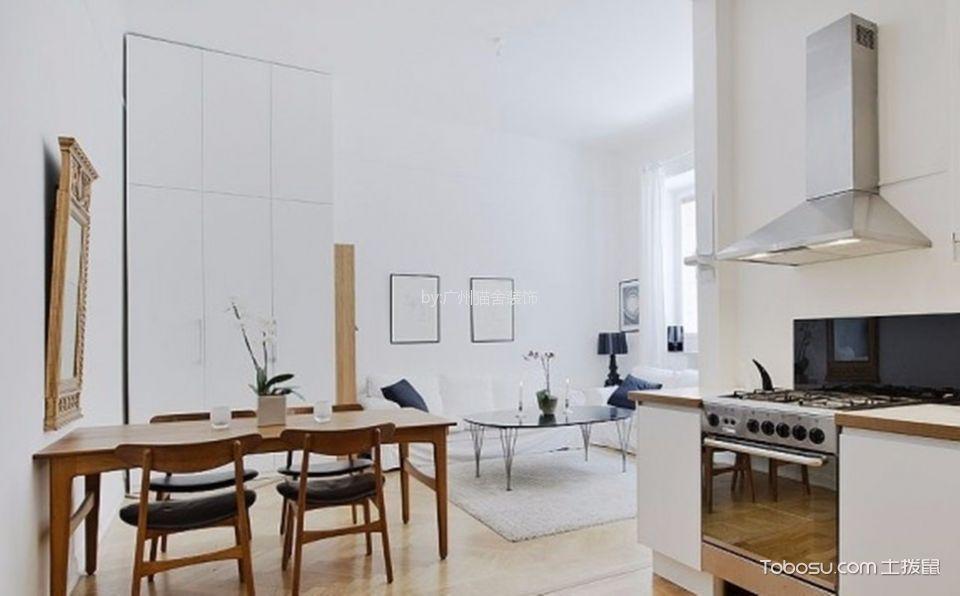 37平米白色北欧单身公寓装修效果图