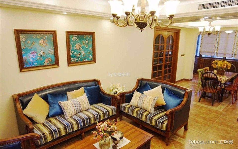 客厅黄色灯具美式风格装饰设计图片