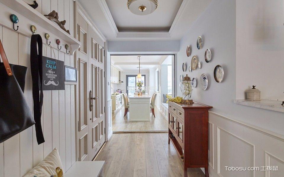 玄关咖啡色鞋柜美式风格装潢设计图片