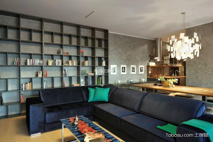 客厅灰色书架现代简约风格装修设计图片