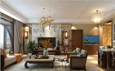豪华客厅新中式装修案例图片