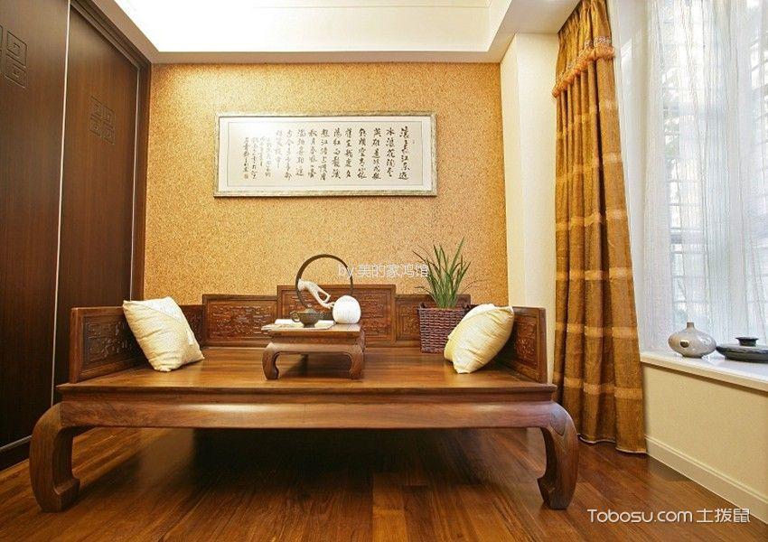 书房橙色窗帘中式风格装潢图片