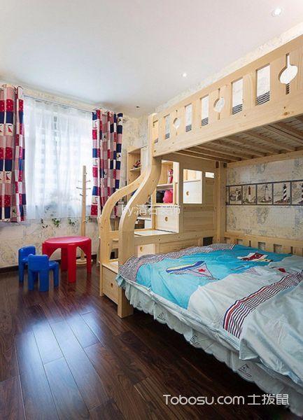 儿童房彩色窗帘新中式风格装潢效果图