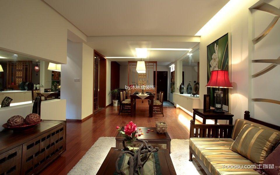 客厅咖啡色电视柜东南亚风格装修设计图片
