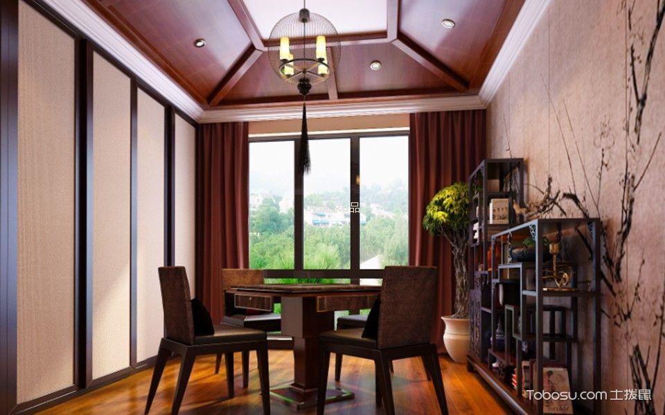 客厅咖啡色博古架混搭风格装饰设计图片
