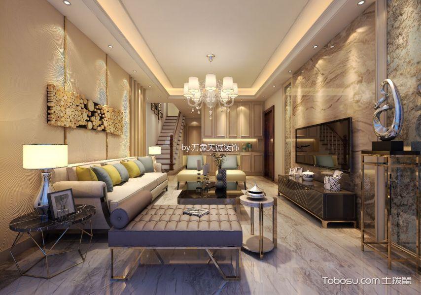 客厅 背景墙_中央海岸简欧风格复式效果图