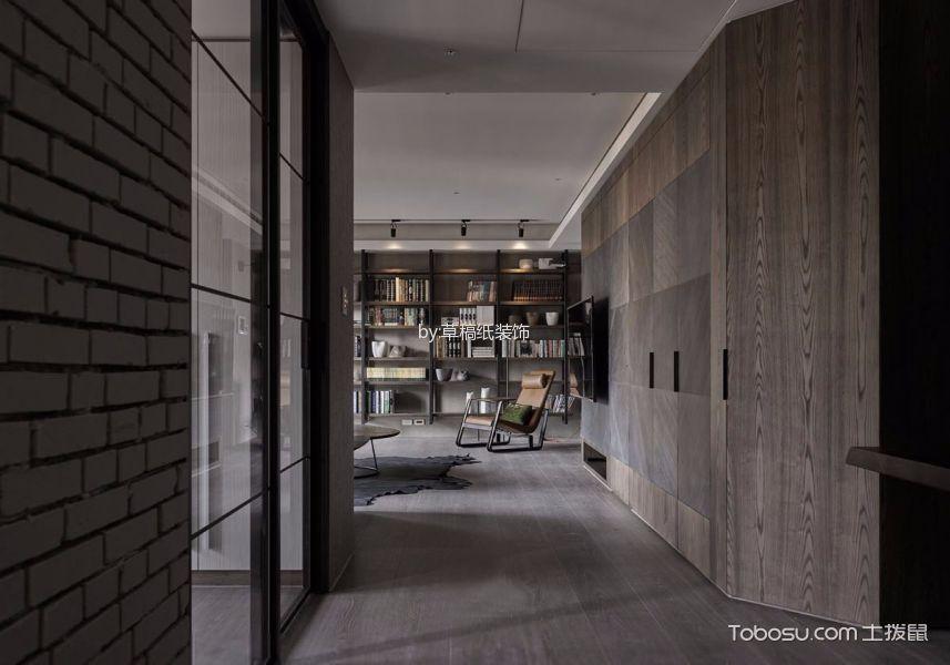 客厅咖啡色书架现代简约风格装修图片