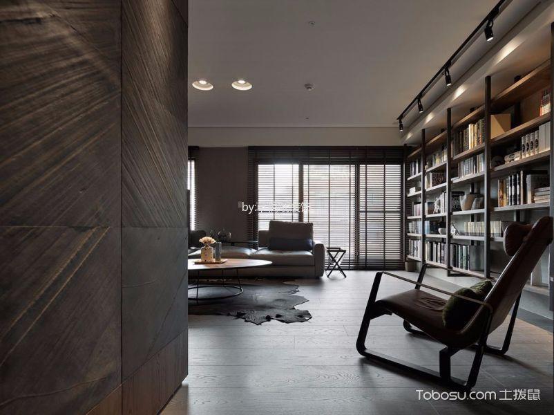 客厅咖啡色书架现代简约风格装修设计图片