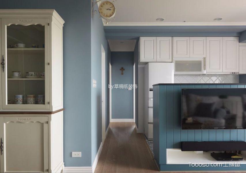 客厅蓝色电视背景墙北欧风格装修效果图
