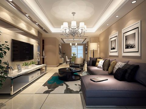 纯净米色客厅装修案例图片