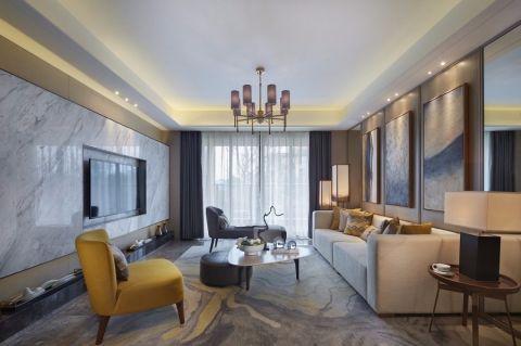 时尚白色套内面积31平米客厅装饰实景图