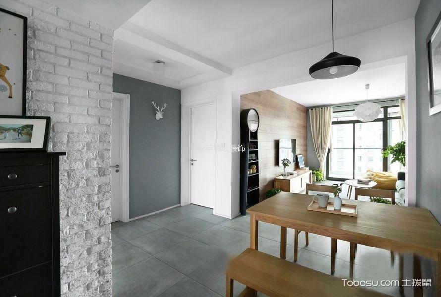 餐厅灰色地砖北欧风格装潢图片