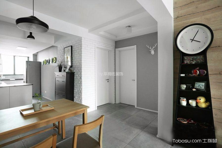 餐厅黑色灯具北欧风格装修设计图片
