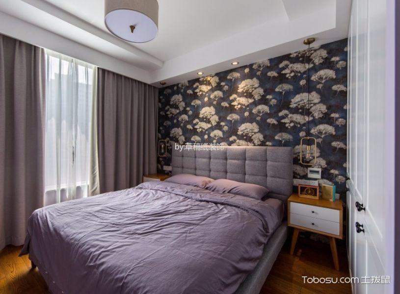 卧室彩色背景墙北欧风格装修图片