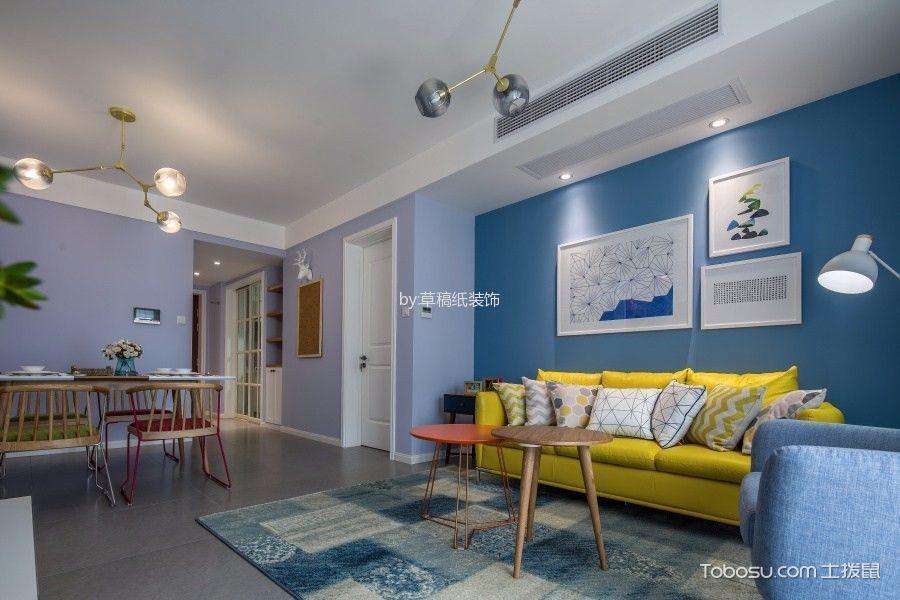 客厅蓝色照片墙北欧风格装修设计图片