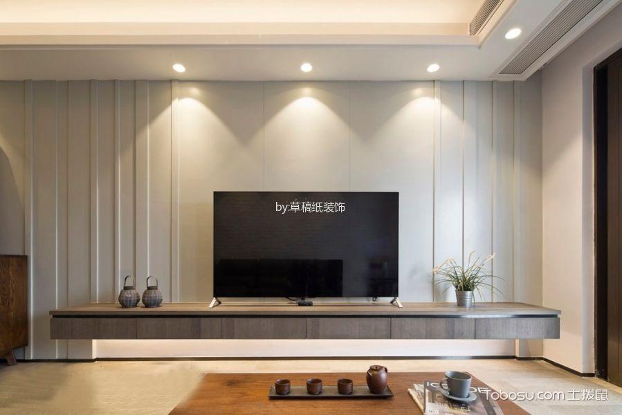 客厅灰色电视背景墙现代简约风格装潢图片