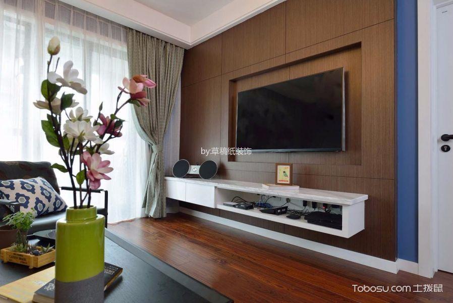 客厅咖啡色电视背景墙现代简约风格装潢效果图