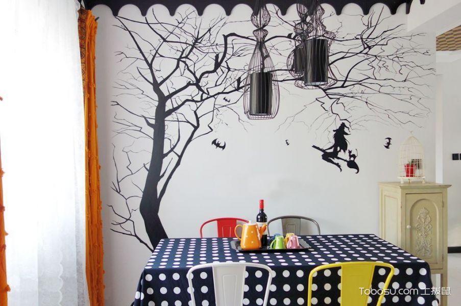 餐厅橙色窗帘混搭风格装饰图片