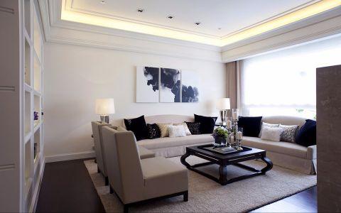 简洁白色客厅内墙案例图