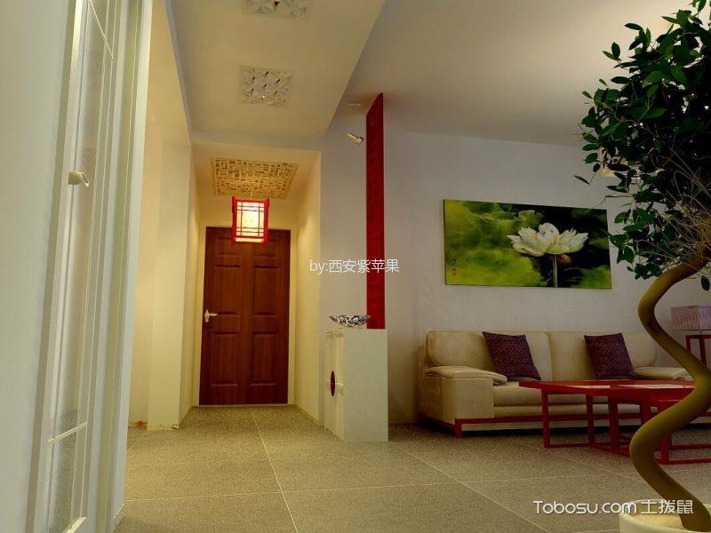 客厅红色隔断混搭风格装修设计图片