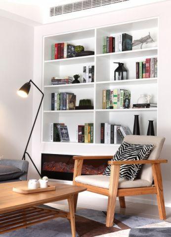 书房背景墙日式风格装潢设计图片