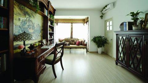 书房背景墙美式风格装修设计图片