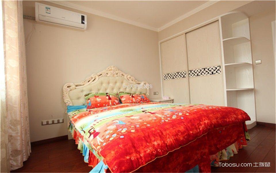 卧室红色地板砖简欧风格装潢图片