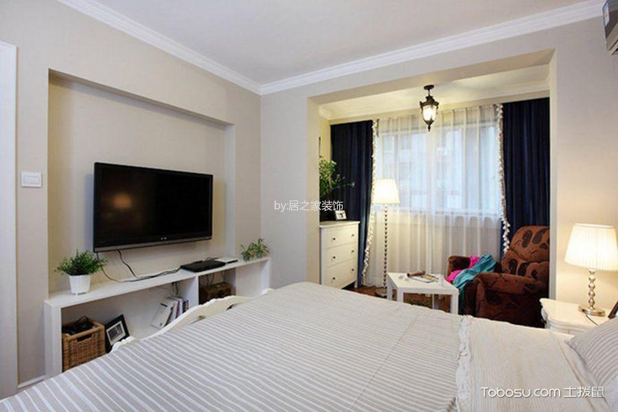 卧室白色电视柜简欧风格装修设计图片
