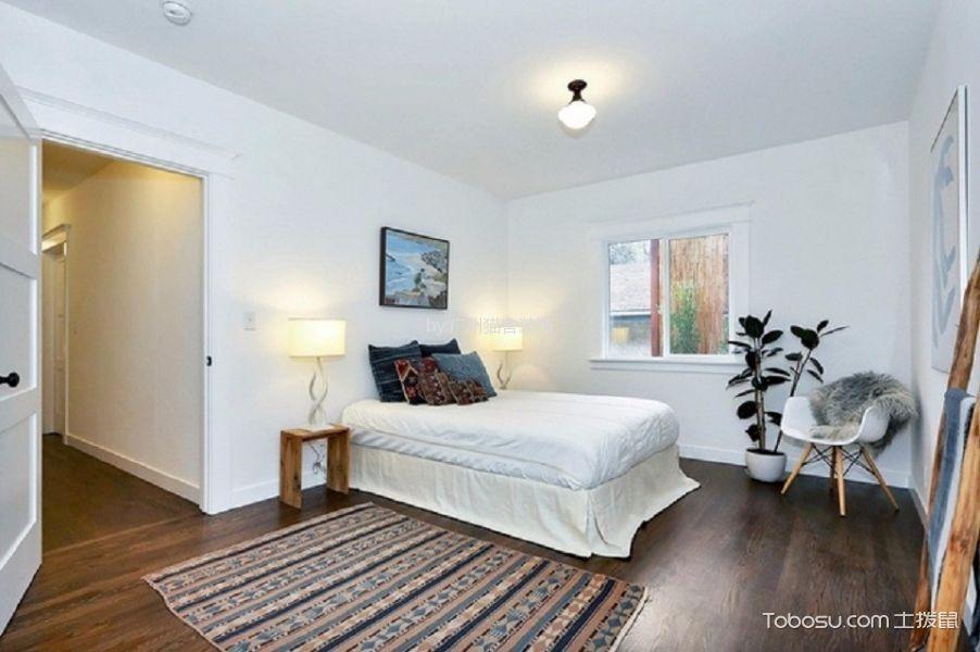 卧室咖啡色地板砖北欧风格装饰设计图片