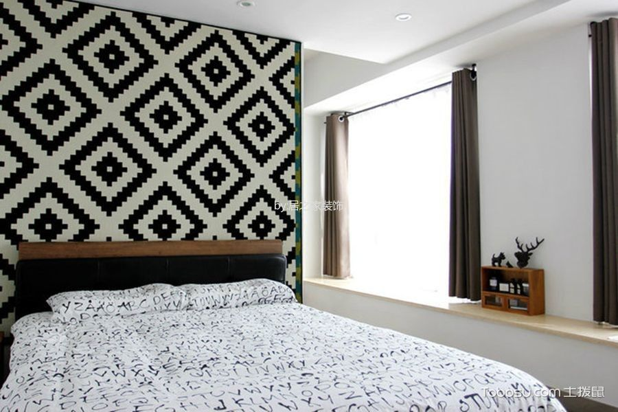 卧室咖啡色窗帘日式风格装潢图片