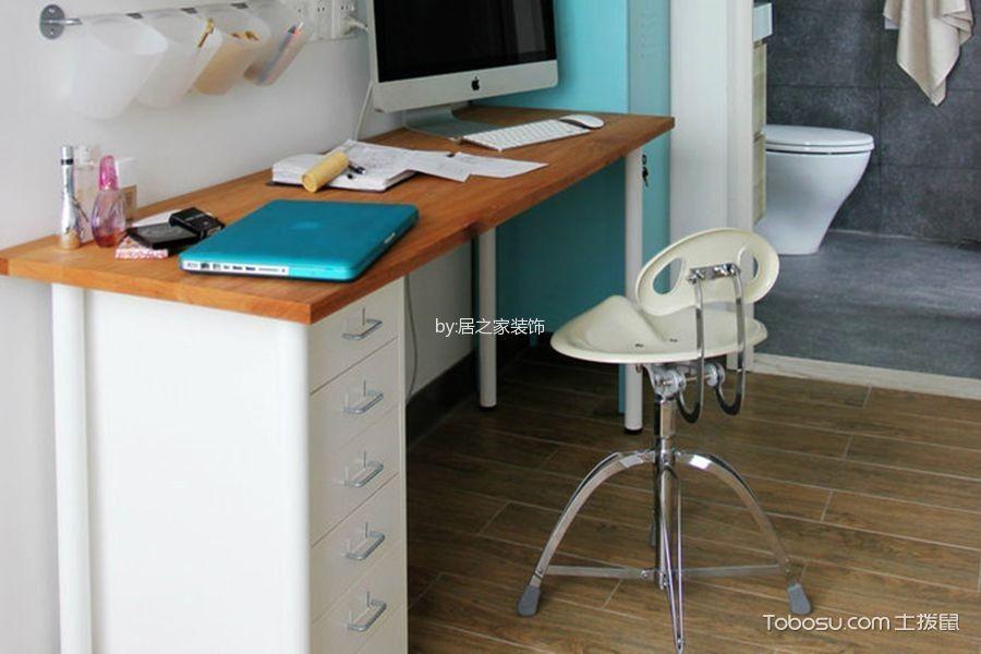 书房白色书桌日式风格装潢效果图